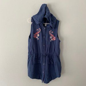 Beautees Hooded Top With Floral Embroidery